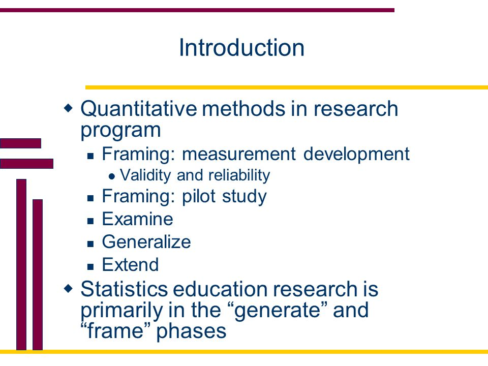 Introduction Quantitative methods in research program