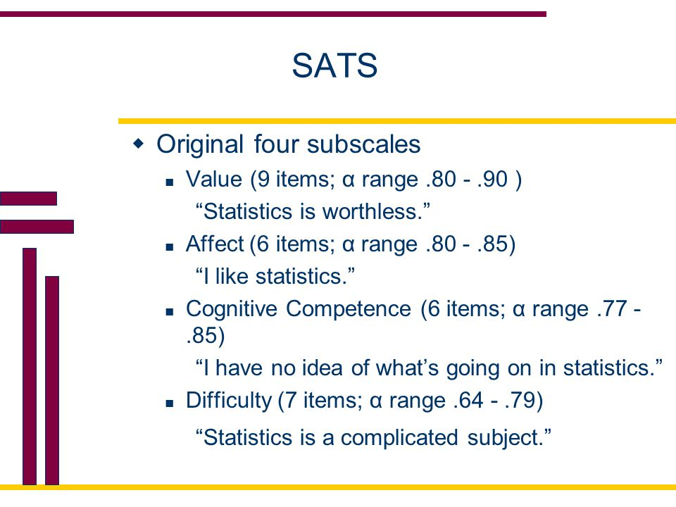 SATS Original four subscales Value (9 items; α range .80 - .90 )