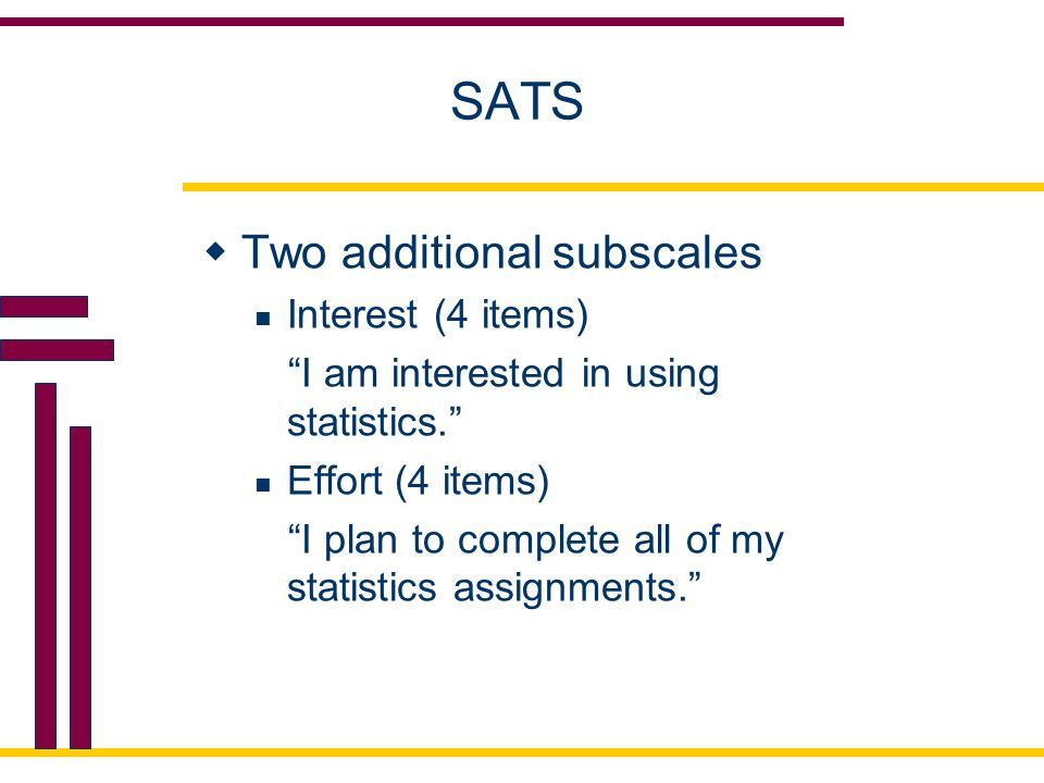SATS Two additional subscales Interest (4 items)