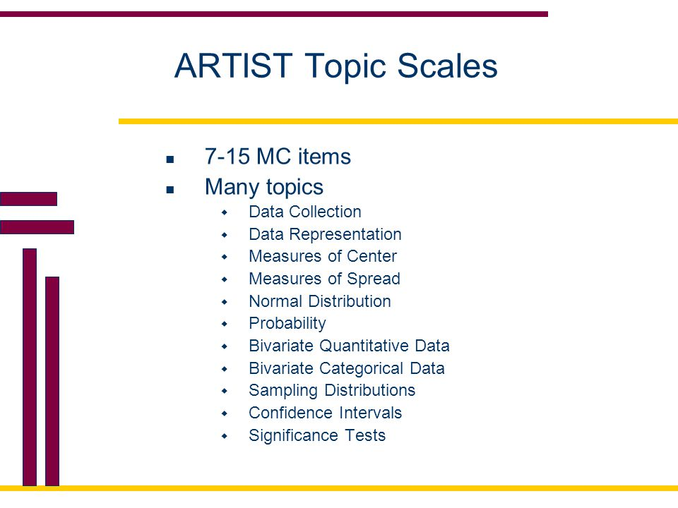 ARTIST Topic Scales 7-15 MC items Many topics Data Collection