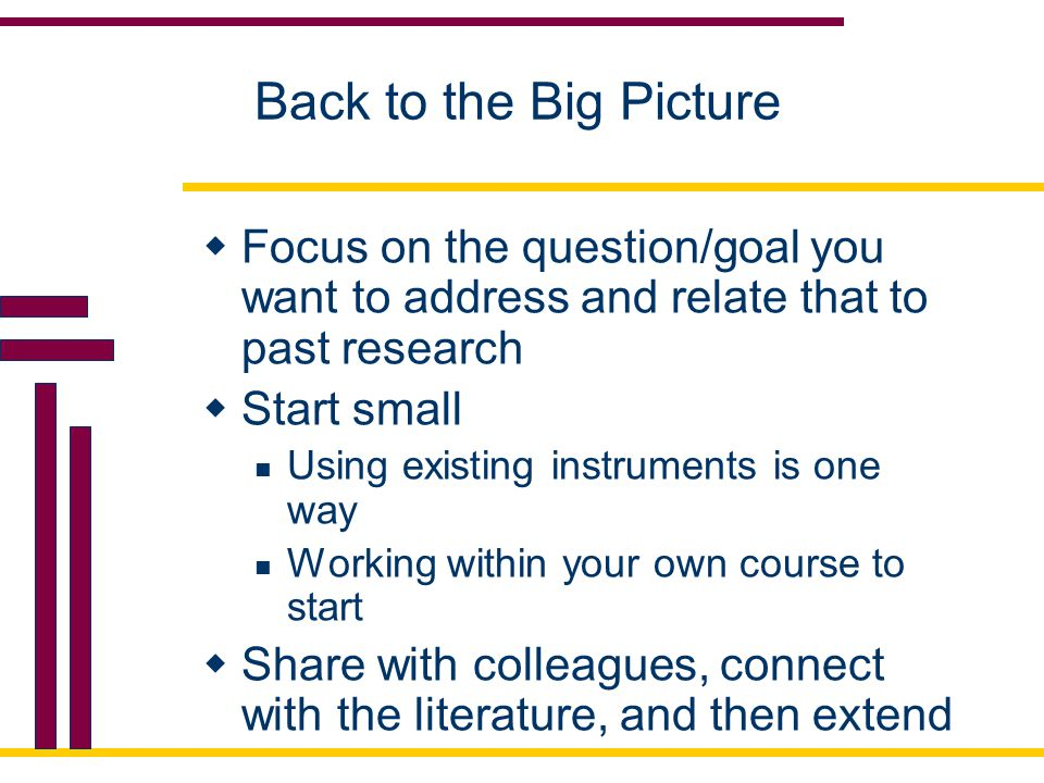 Back to the Big Picture Focus on the question/goal you want to address and relate that to past research.