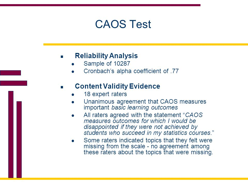 CAOS Test Reliability Analysis Content Validity Evidence