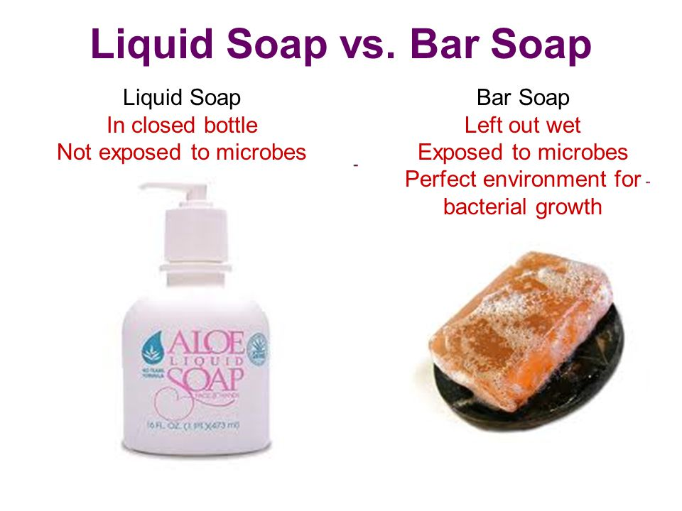 Liquid Soap vs. Bar Soap Bar Soap Liquid Soap Left out wet