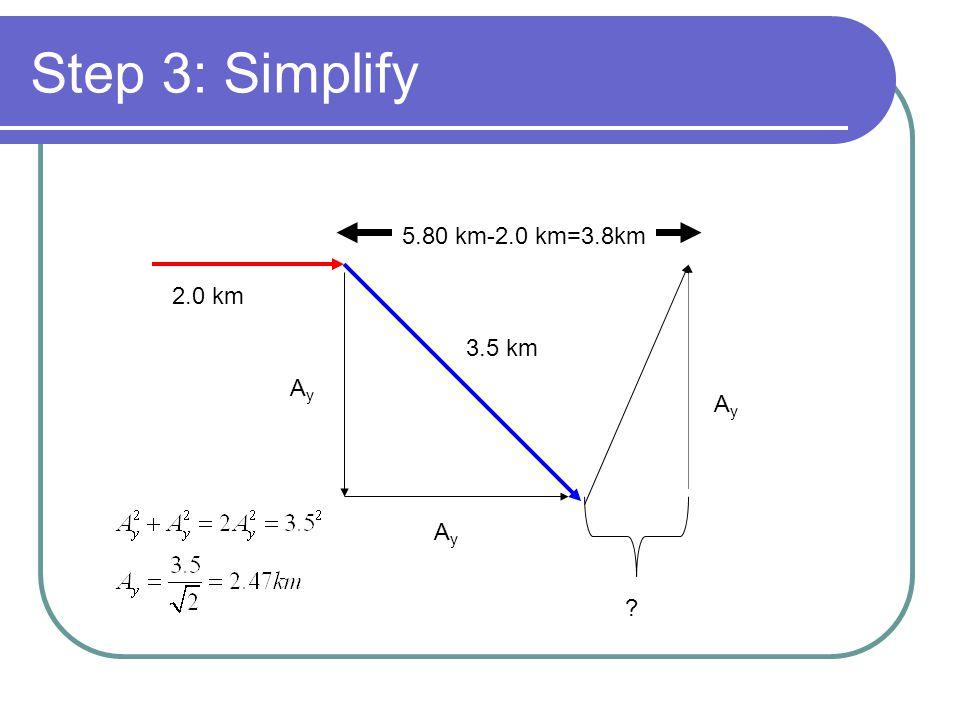 Step 3: Simplify 5.80 km-2.0 km=3.8km 2.0 km 3.5 km Ay Ay Ay