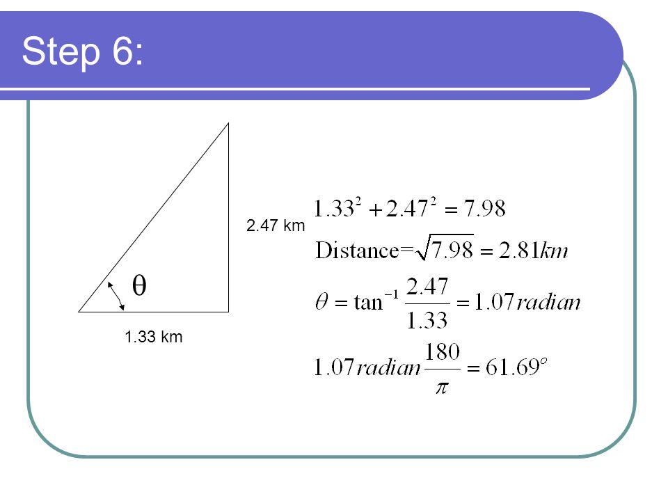 Step 6: 1.33 km 2.47 km q