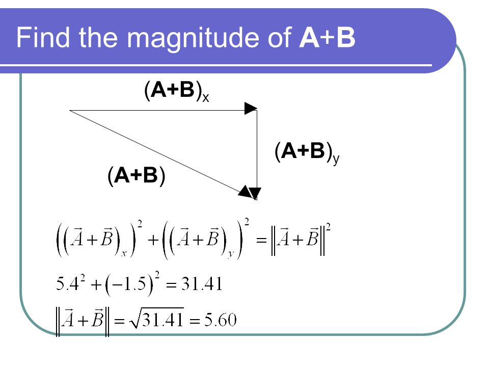 Find the magnitude of A+B