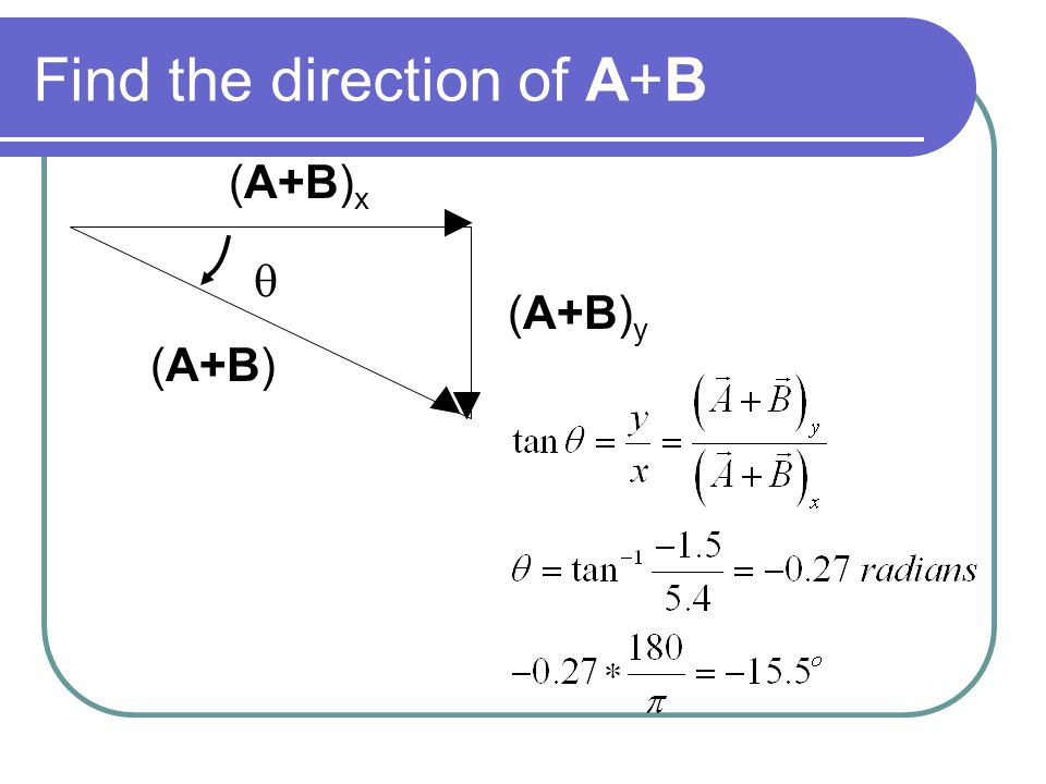 Find the direction of A+B