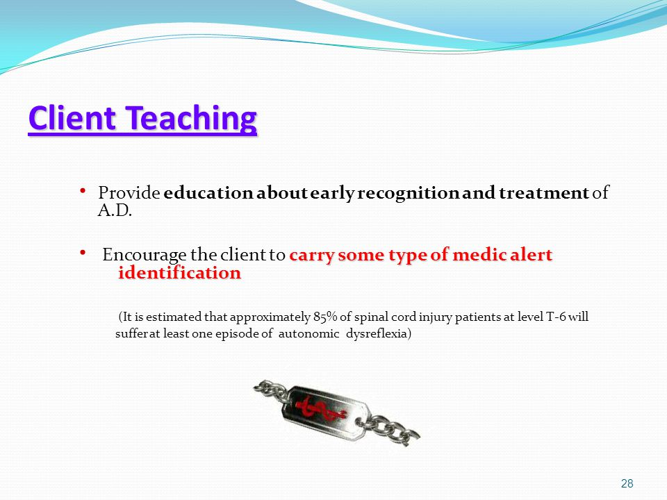 Client Teaching Provide education about early recognition and treatment of A.D.