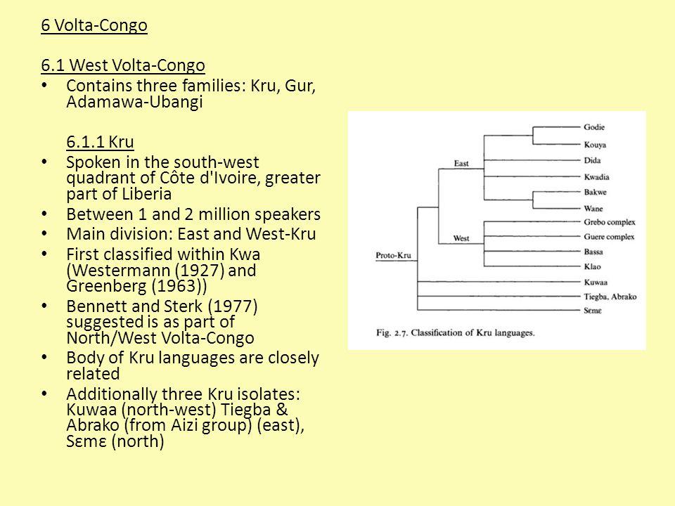 6 Volta-Congo 6.1 West Volta-Congo. Contains three families: Kru, Gur, Adamawa-Ubangi. 6.1.1 Kru.