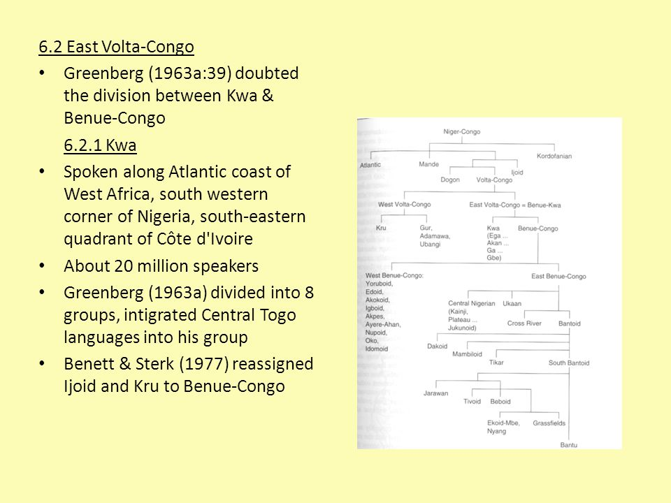 6.2 East Volta-Congo Greenberg (1963a:39) doubted the division between Kwa & Benue-Congo. 6.2.1 Kwa.