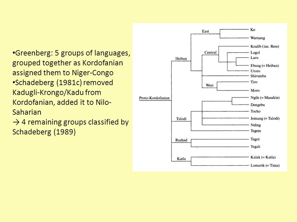 Greenberg: 5 groups of languages, grouped together as Kordofanian assigned them to Niger-Congo