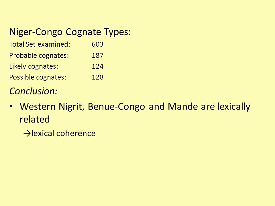 Niger-Congo Cognate Types:
