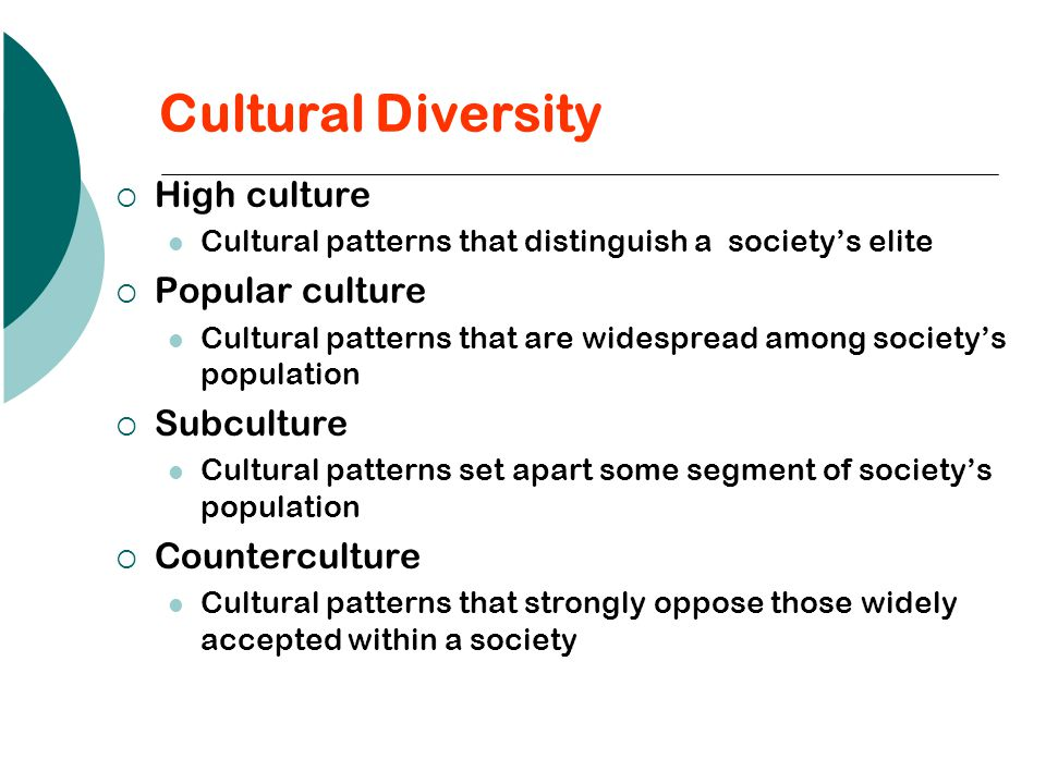 Cultural Diversity High culture Popular culture Subculture