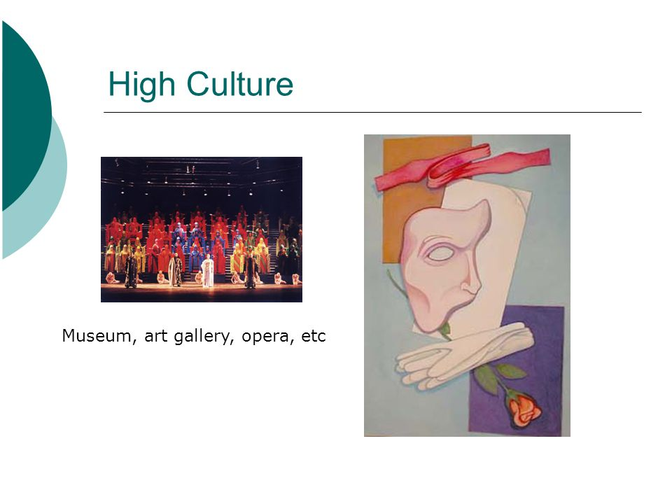 High Culture Museum, art gallery, opera, etc