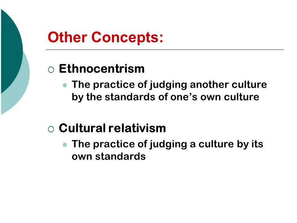 Other Concepts: Ethnocentrism Cultural relativism