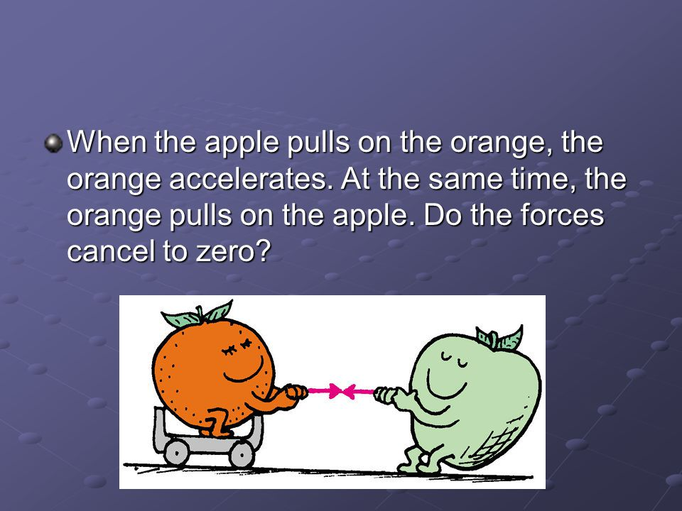When the apple pulls on the orange, the orange accelerates