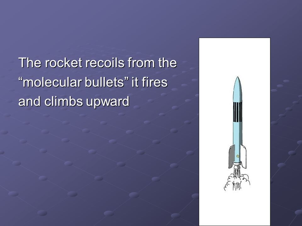 The rocket recoils from the