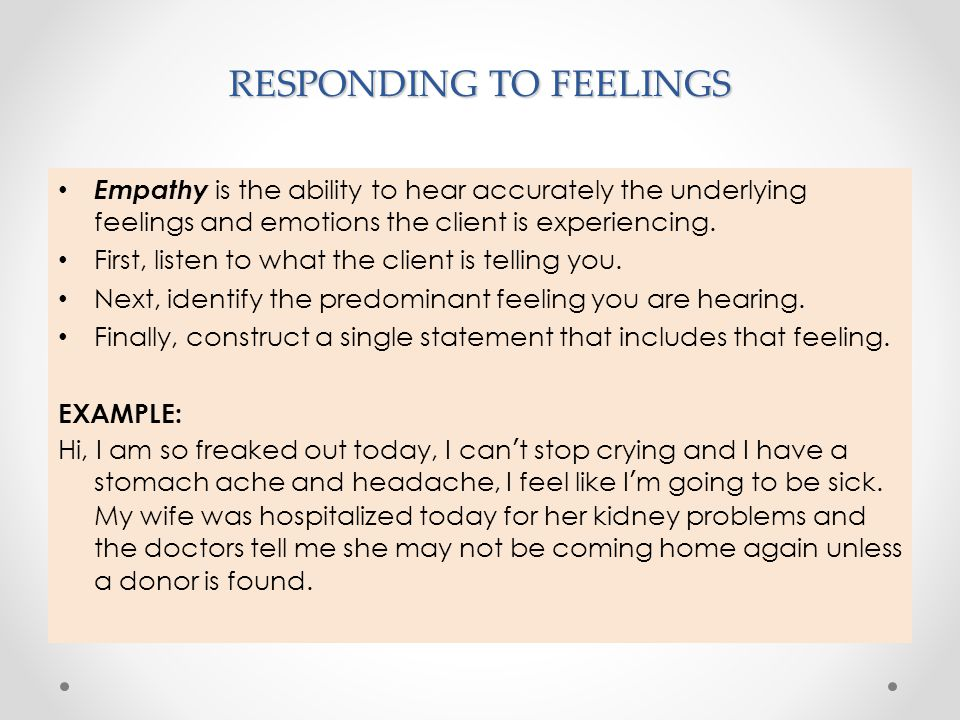 RESPONDING TO FEELINGS