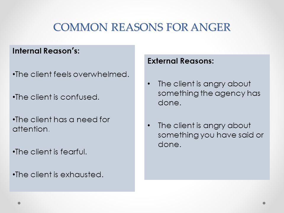 COMMON REASONS FOR ANGER