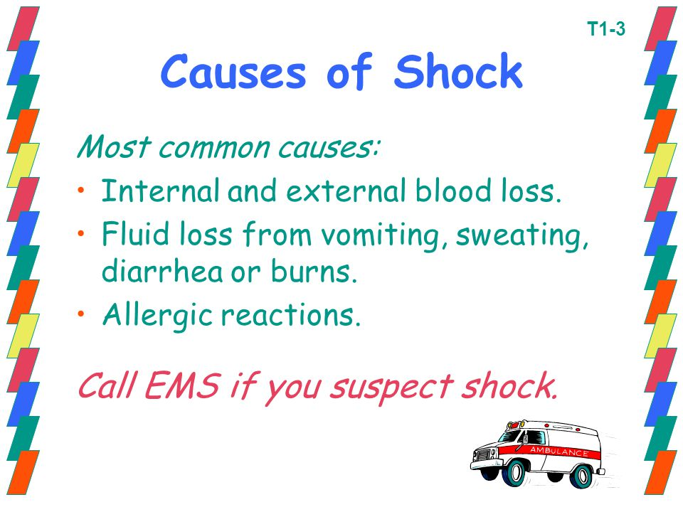 Causes of Shock Call EMS if you suspect shock. Most common causes: