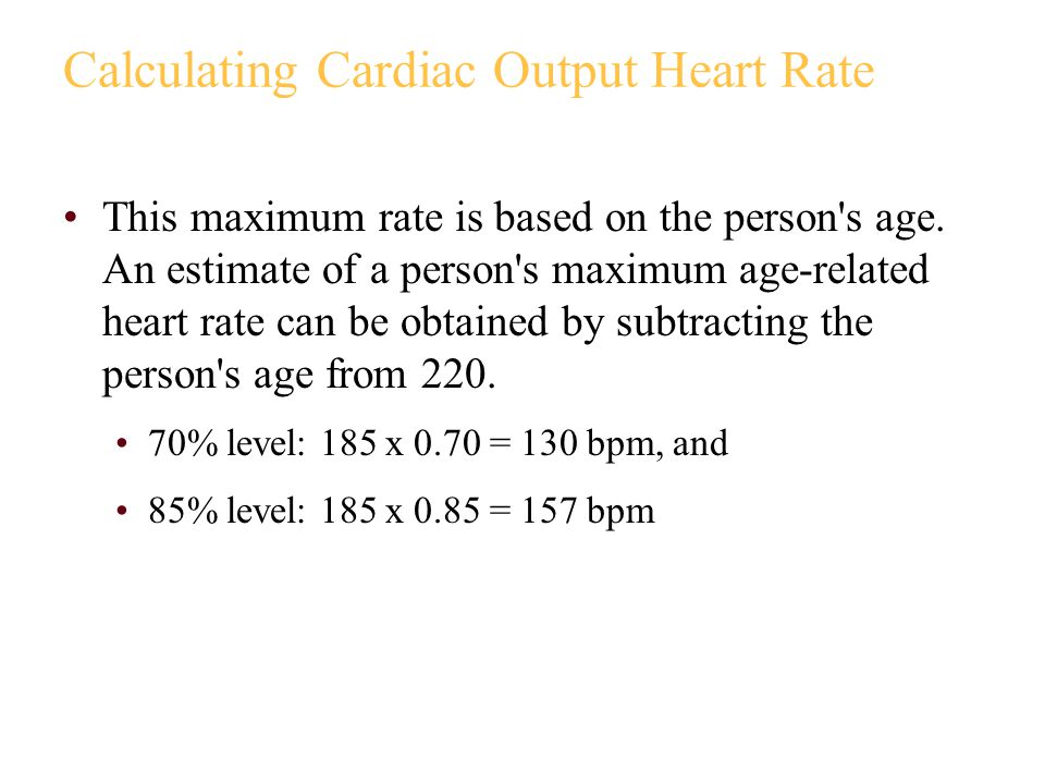 Calculating Cardiac Output Heart Rate