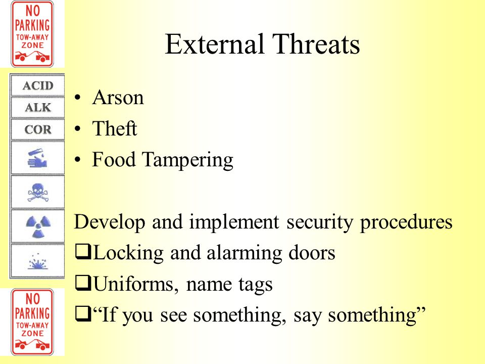 External Threats Arson Theft Food Tampering
