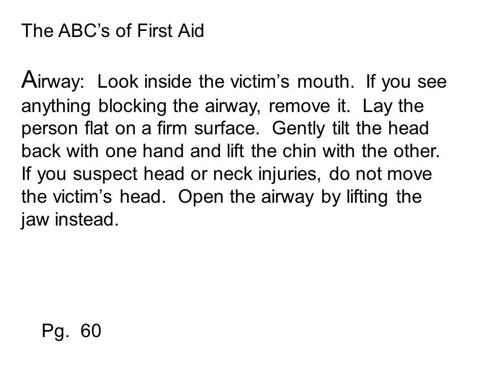 The ABC's of First Aid