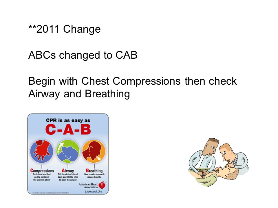**2011 Change ABCs changed to CAB Begin with Chest Compressions then check Airway and Breathing
