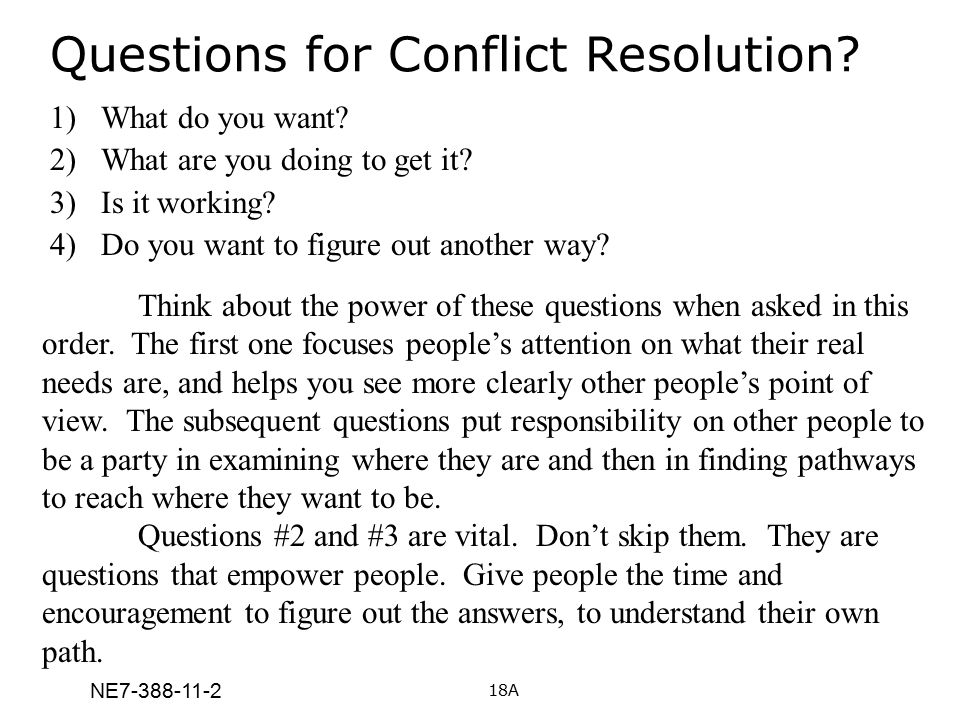 Questions for Conflict Resolution