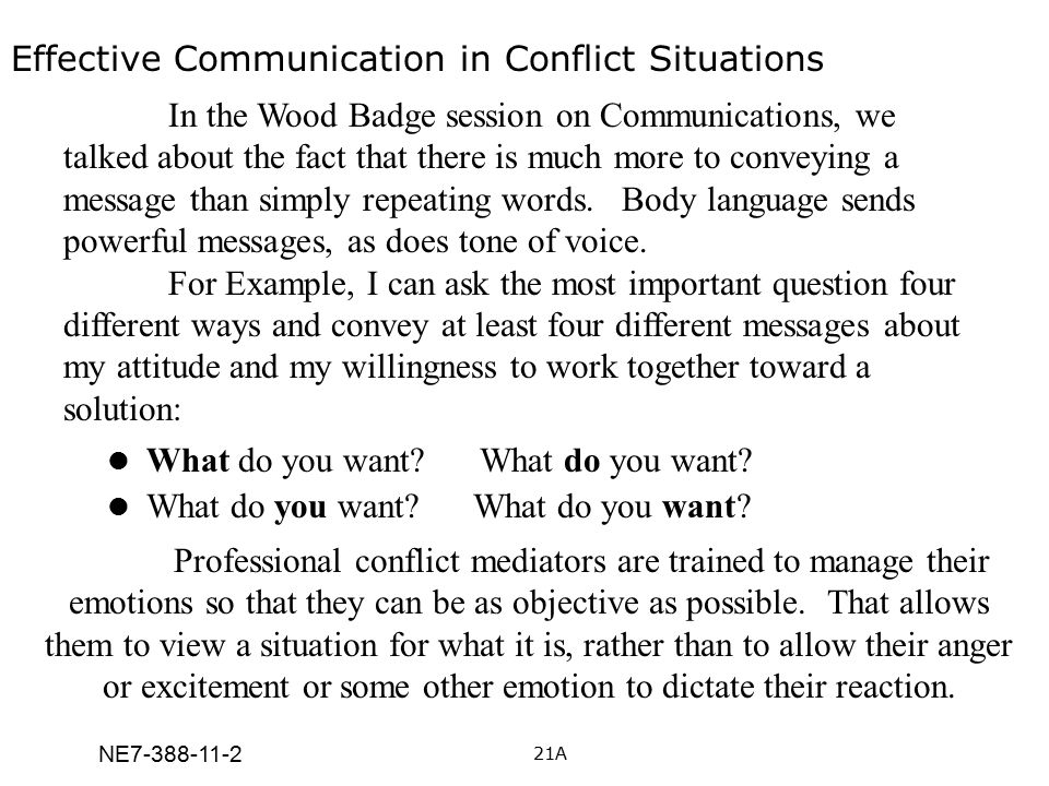 Effective Communication in Conflict Situations