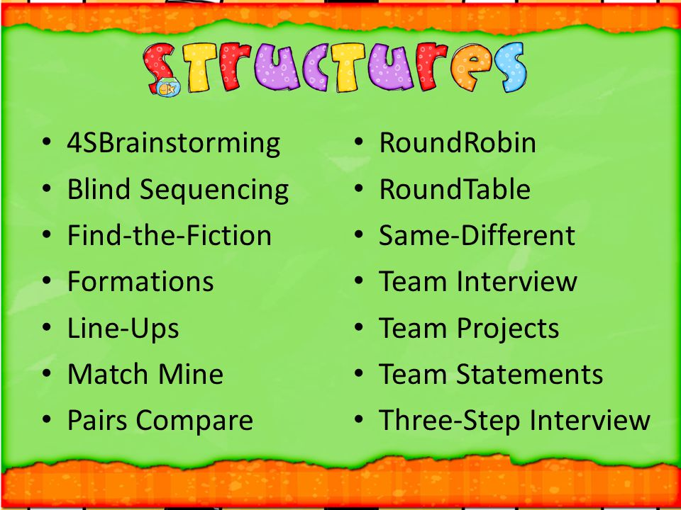 4SBrainstorming Blind Sequencing. Find-the-Fiction. Formations. Line-Ups. Match Mine. Pairs Compare.