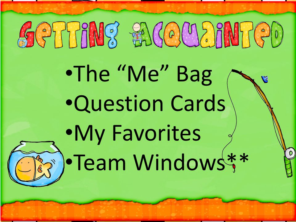 The Me Bag Question Cards My Favorites Team Windows**
