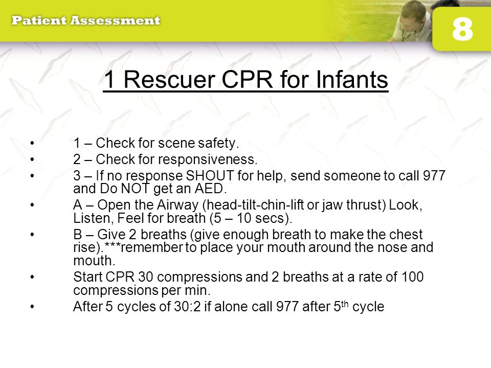 1 Rescuer CPR for Infants
