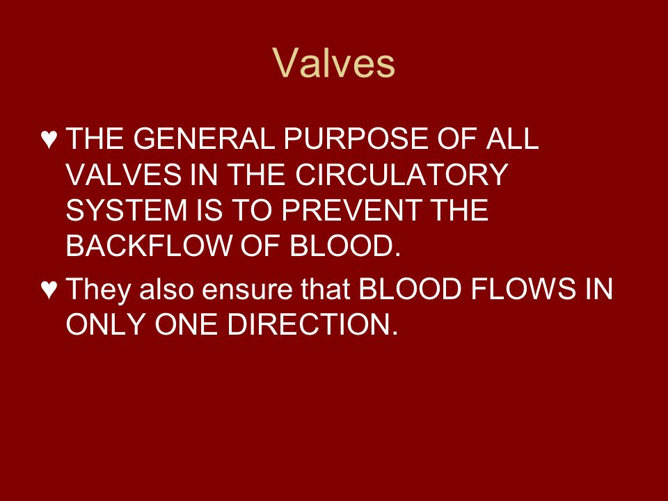 Valves THE GENERAL PURPOSE OF ALL VALVES IN THE CIRCULATORY SYSTEM IS TO PREVENT THE BACKFLOW OF BLOOD.