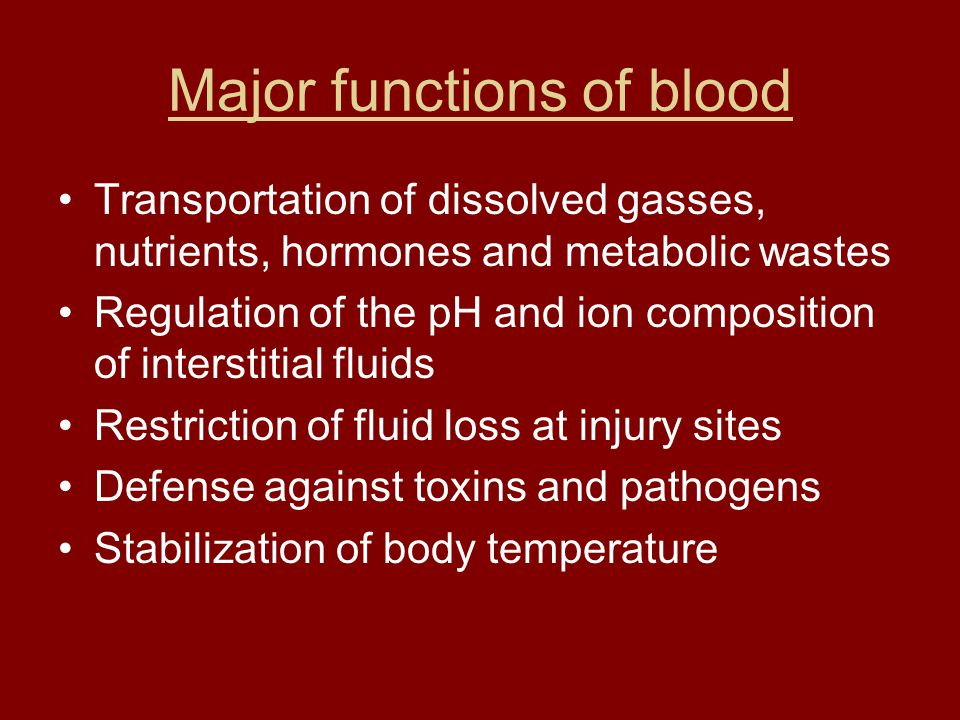 Major functions of blood