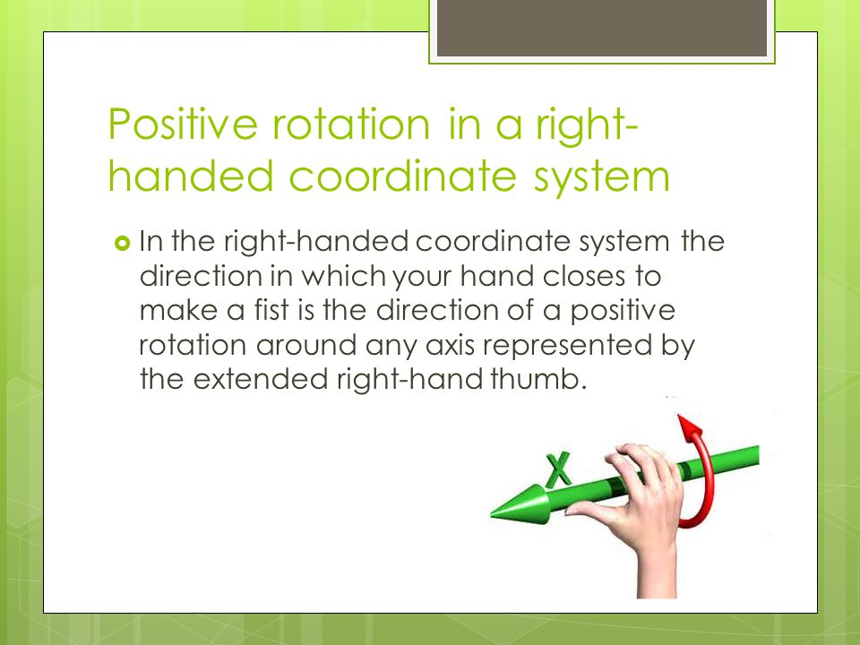 Positive rotation in a right-handed coordinate system
