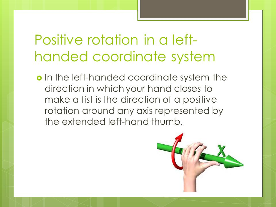 Positive rotation in a left-handed coordinate system