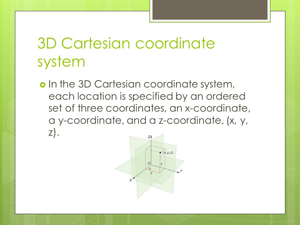 3D Cartesian coordinate system