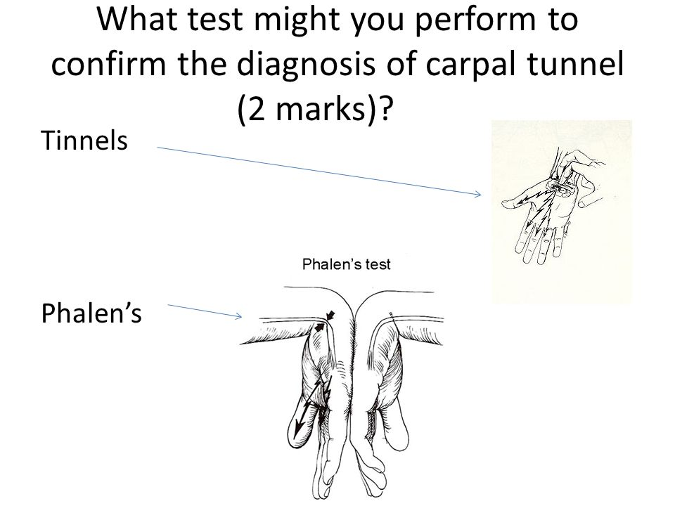 What test might you perform to confirm the diagnosis of carpal tunnel (2 marks)