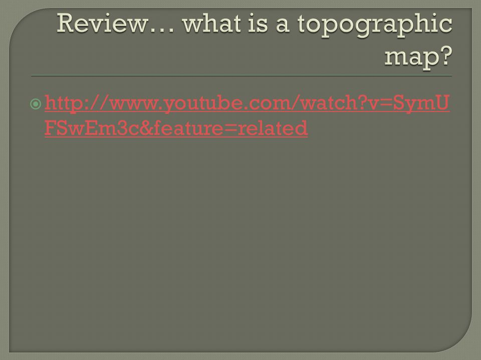 Review… what is a topographic map