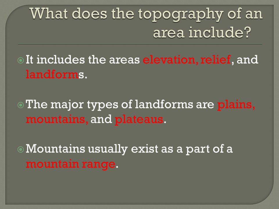 What does the topography of an area include