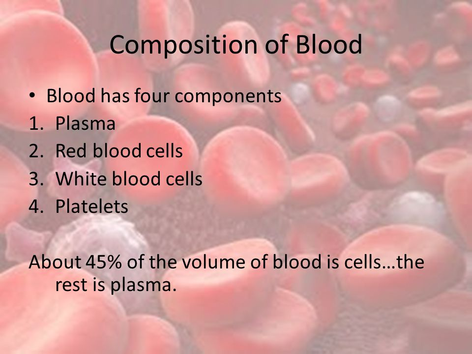 Composition of Blood Blood has four components Plasma Red blood cells
