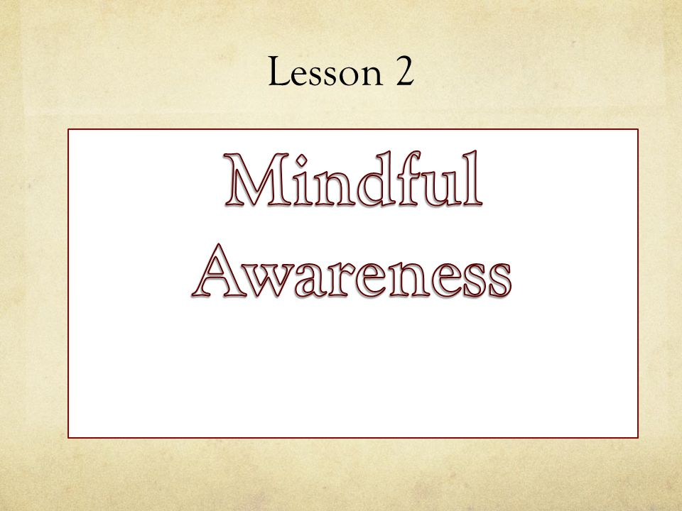 Lesson 2 Mindful Awareness
