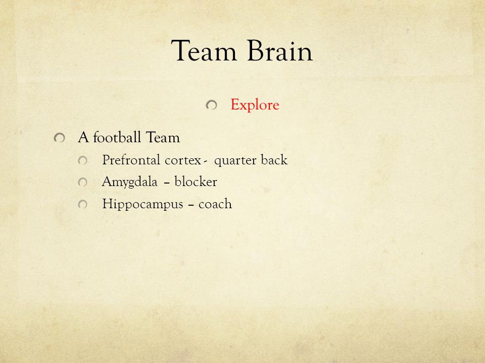 Team Brain Explore A football Team Prefrontal cortex - quarter back