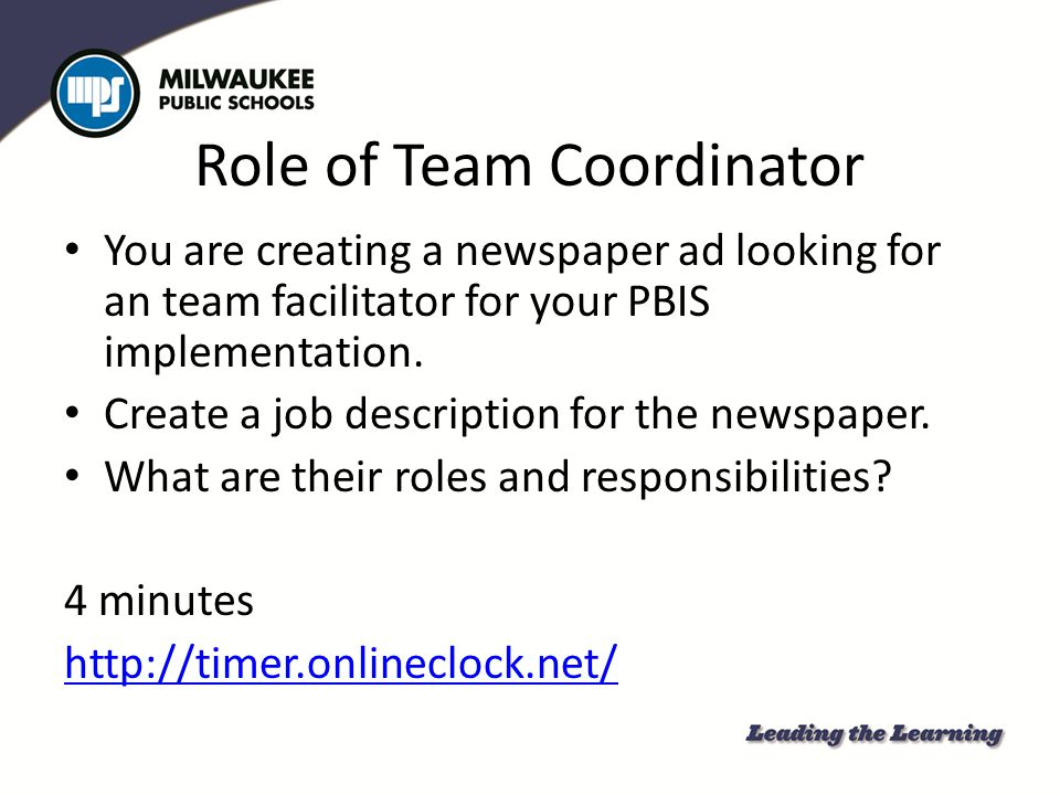 Role of Team Coordinator