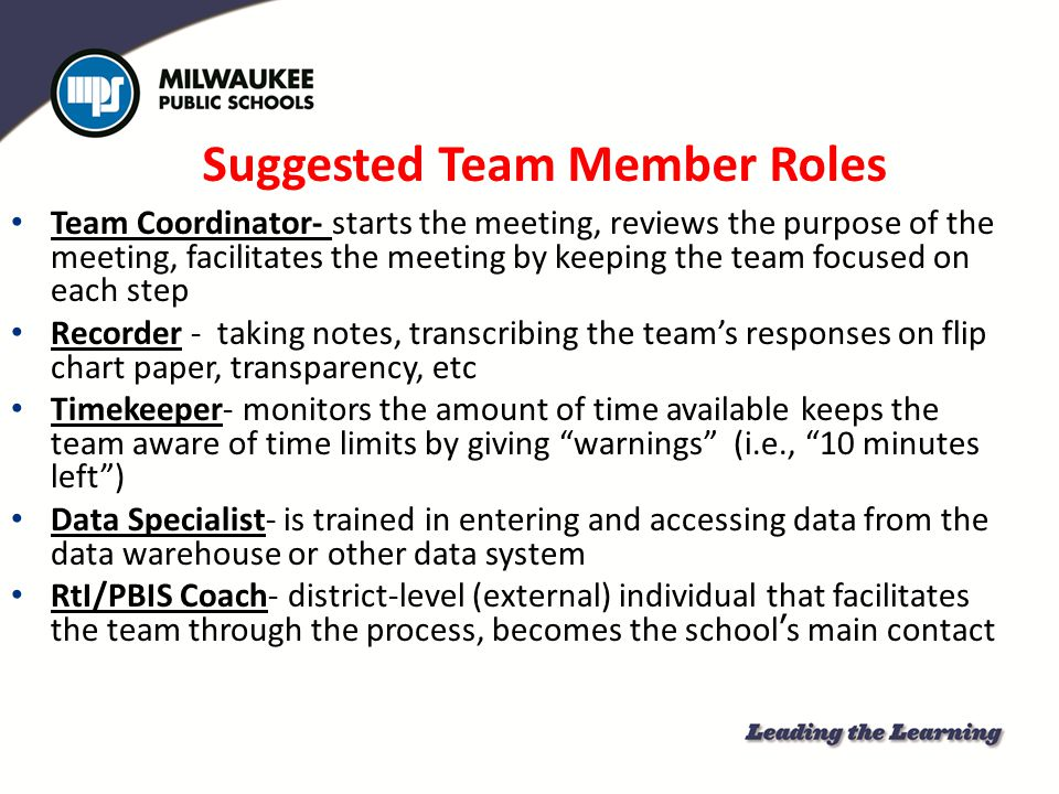Suggested Team Member Roles