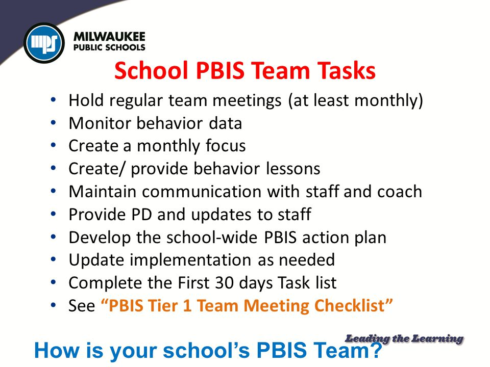 How is your school's PBIS Team
