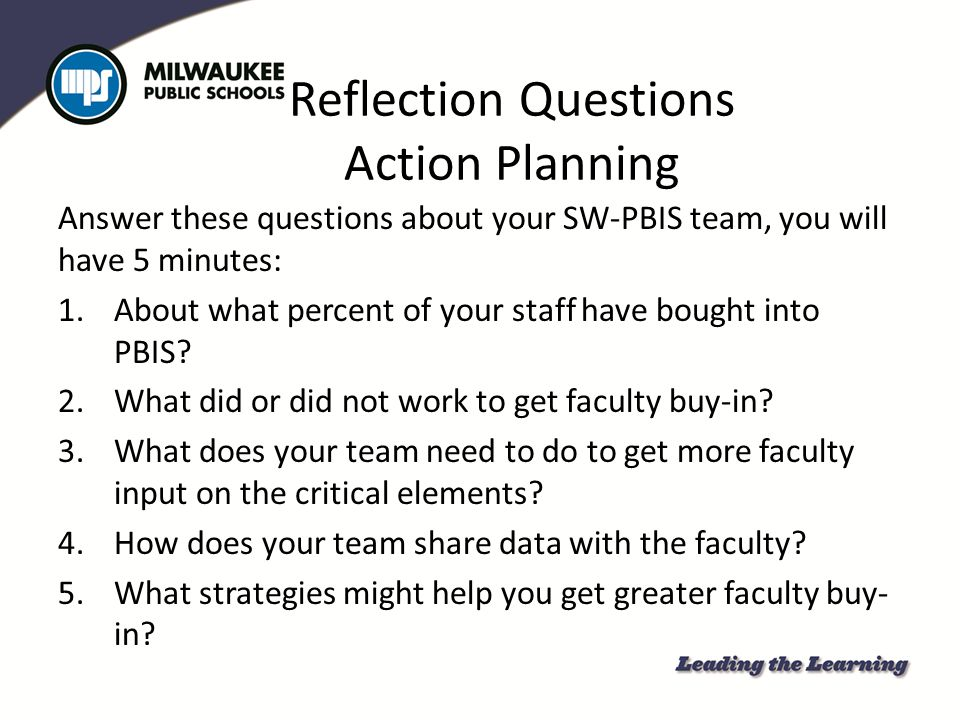Reflection Questions Action Planning