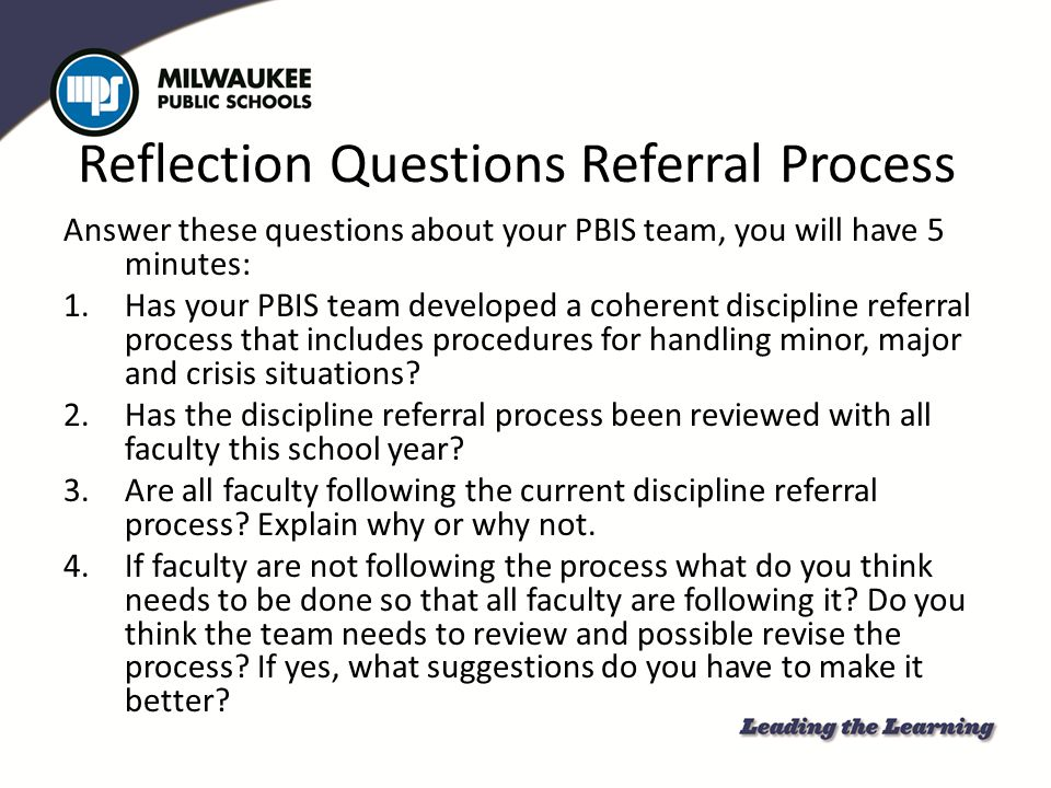Reflection Questions Referral Process
