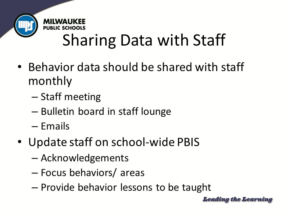 Sharing Data with Staff